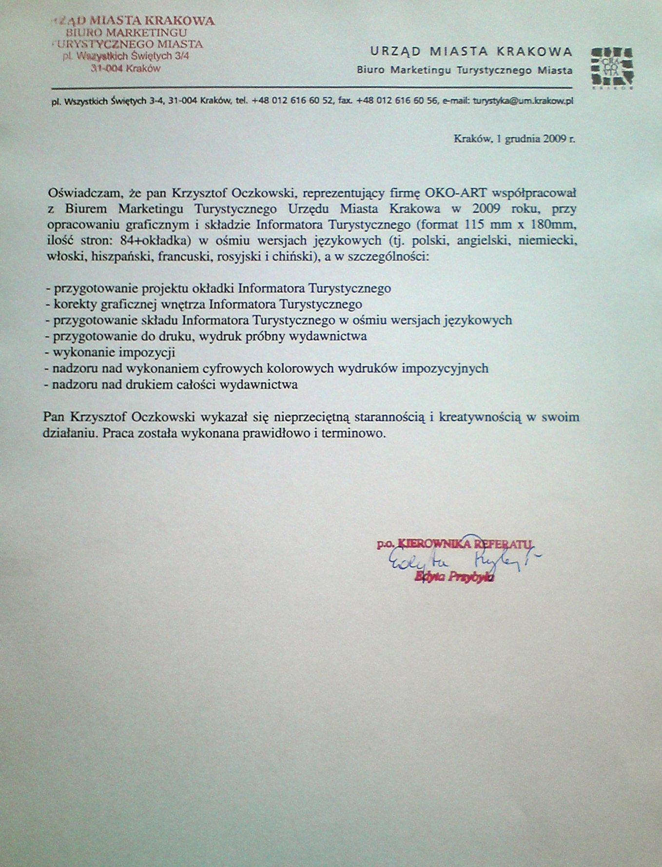 UM Kraków - współpraca, rekomendacje
